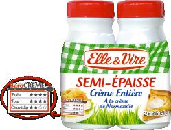 La Crème entière semi-épaisse de Normandie en bouteille