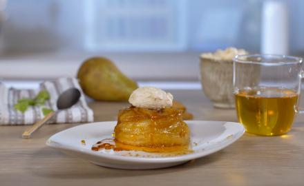 Mini tatin poires-speculoos chantilly