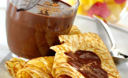 Gourmet crepes with chocolate and fruit
