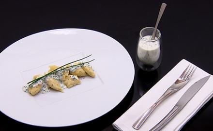 Knepfle au fromage blanc, ciboulette et vinaigre d'Orléans