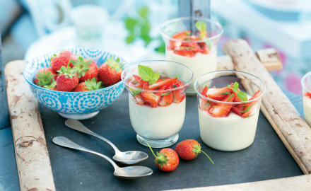Panna cotta with basil and mint strawberries