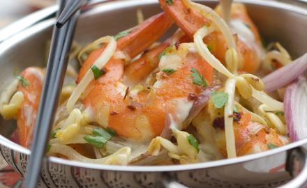 Crevettes sautées aux pousses de soja