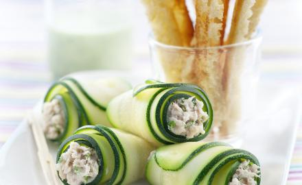 Roulés de courgettes et rillettes de sardine