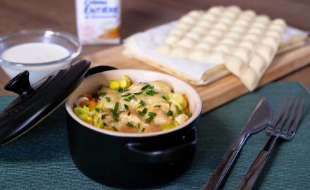 Gratin de ravioles aux légumes et à la crème