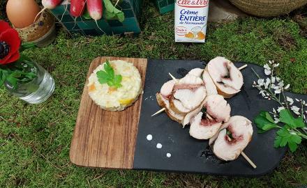 Saltimbocca de poulet et risotto aux petits légumes