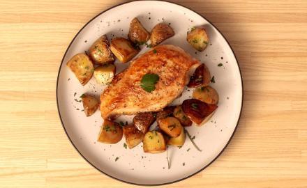 Escalope de poulet et poêlée de pommes de terre