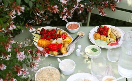 Légumes rôtis et leurs dips
