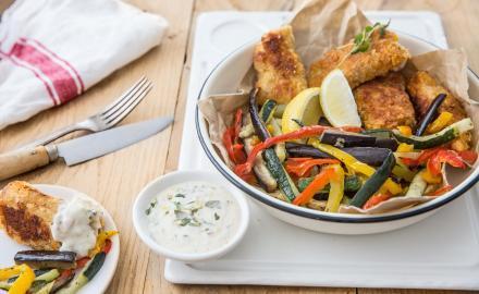 Fish & chips de légumes d'été