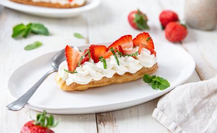 Éclairs chantilly fraises