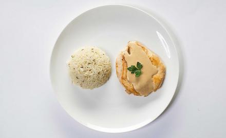 Escalope à la crème citronnée et riz pilaf au cumin
