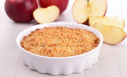 Mini-crumbles aux pommes vanille-noisette