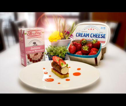 INTERPRETATION D'UN CHEESE CAKE AUX FRAISES